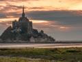 Abbey Le Mont Saint Michel in the sunrise