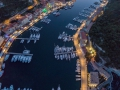 Drone shot of the Bonifacio habour at night