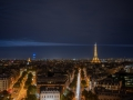 The Eiffel Tower at night from the Arc de Triomphe