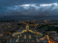 Panorama from the roof of the st peters basilica in the sunset
