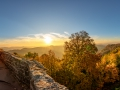 Sunrise in autumn at Wegelnburg Castle