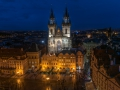 The Prague Old Town Square from above to the blue hour