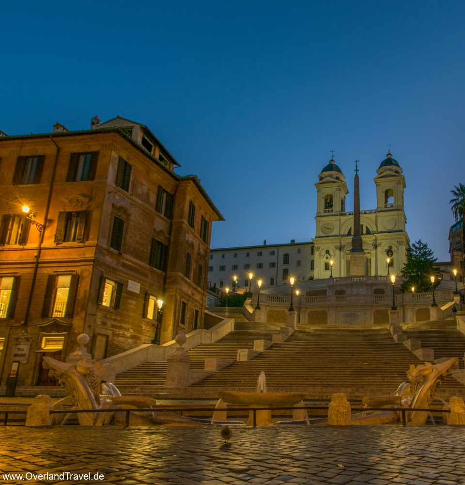 The spanish steps in Rome before sunrise totally empty