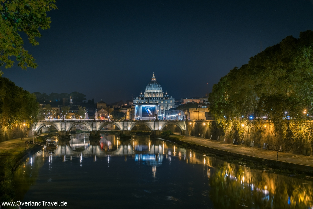View over the river tiber in Romeand the St Peters Basilica