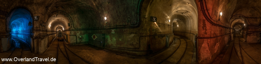 Fort Ouvrage Michelsberg Maginot Line 180 degree panorama tunnel railway