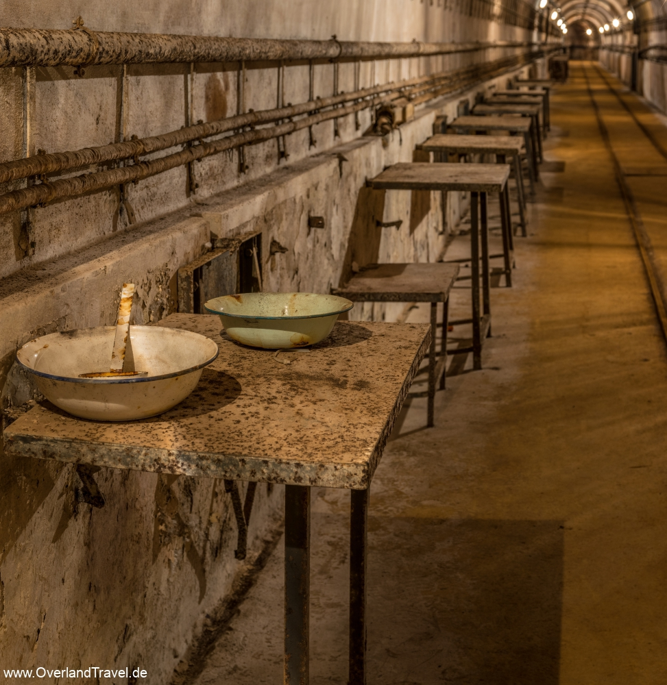 Fort Ouvrage Michelsberg Maginot Line tunnel dining tables,