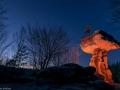 Der Teufelstisch in Rheinland Pfalz in Hinterweidenthal bei Sonnenuntergang