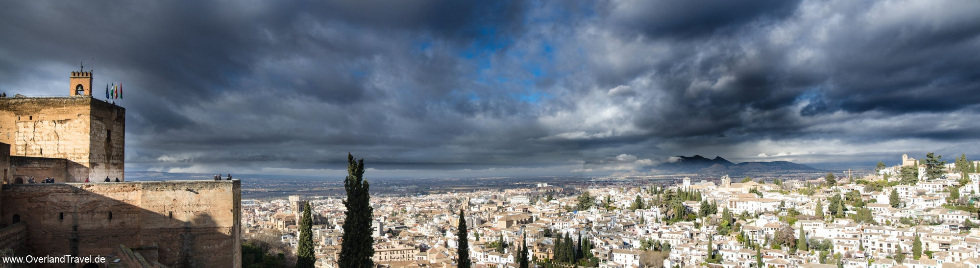 Alhambra Granada Thunderstorm Castle Panorama