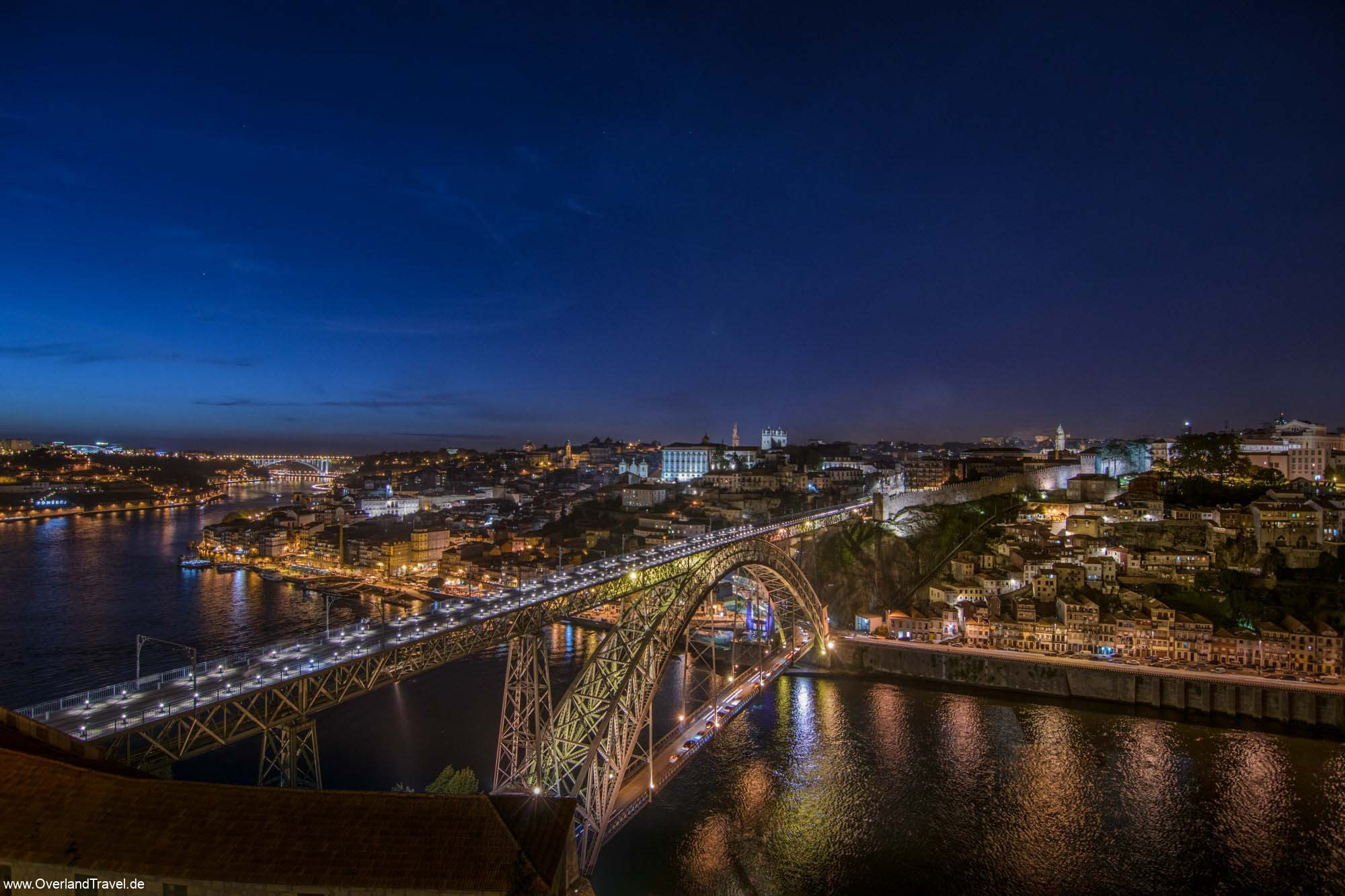Porto Bridge Dom Luis Night Panorama