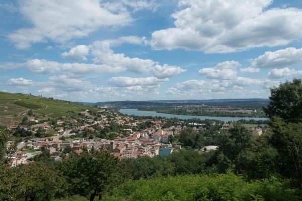 Jakobsweg Mtb Via Gebennensis Blick zurück ins Rhone Tal