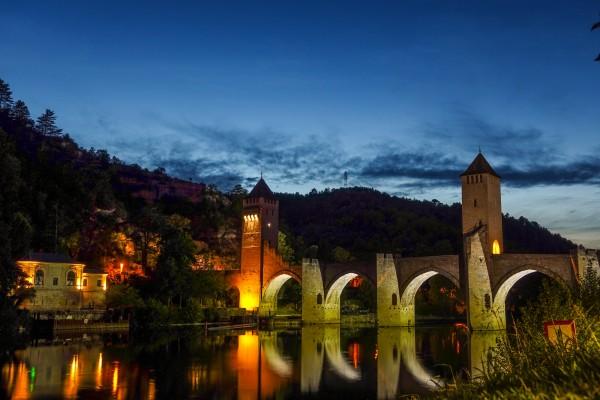Camino Santiago Mtb Via Podiensis Cahors Bridge Night