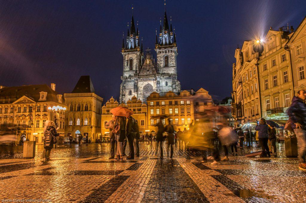 Prag Prague Blue Hour Available Light Altstädter Ring Old Town Church of Our Lady before Týn Chrám Matky Boží-před Týnem Night
