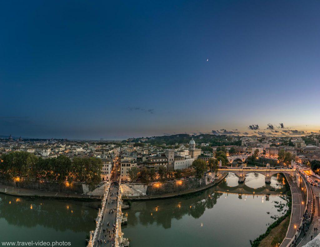 panorama rome rom- oma sunset blue hour night tiber sant angelo castel engelsburg