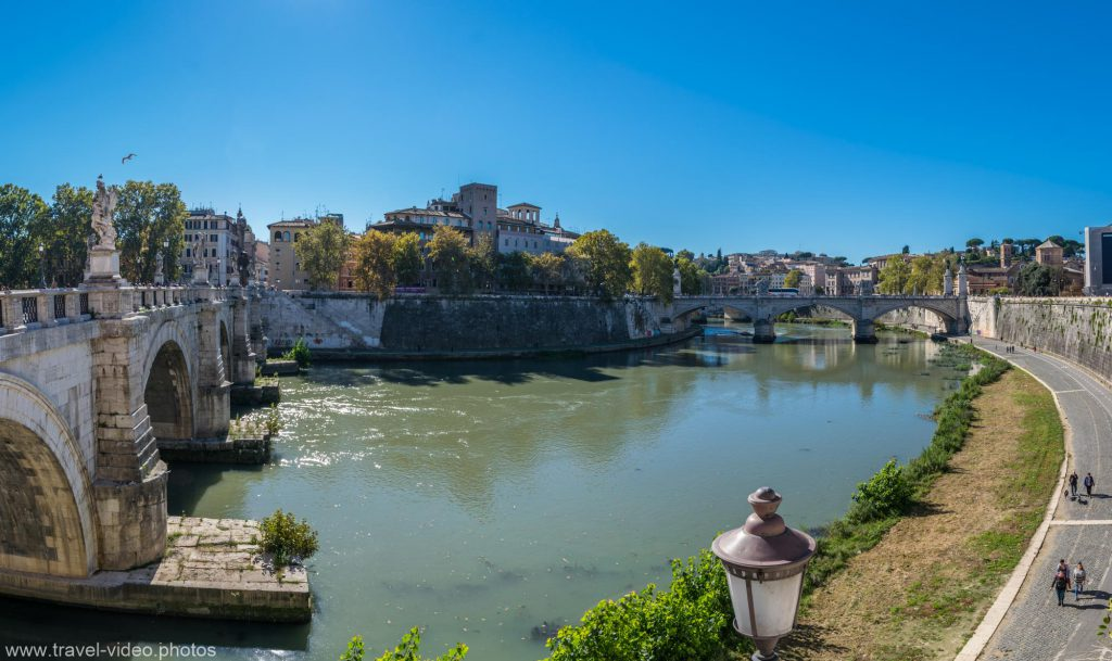 Along the Tiber bicycle way in Rome