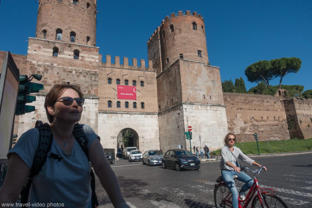 Start of the Via Appia Antica in Rome at the Aurelian wall