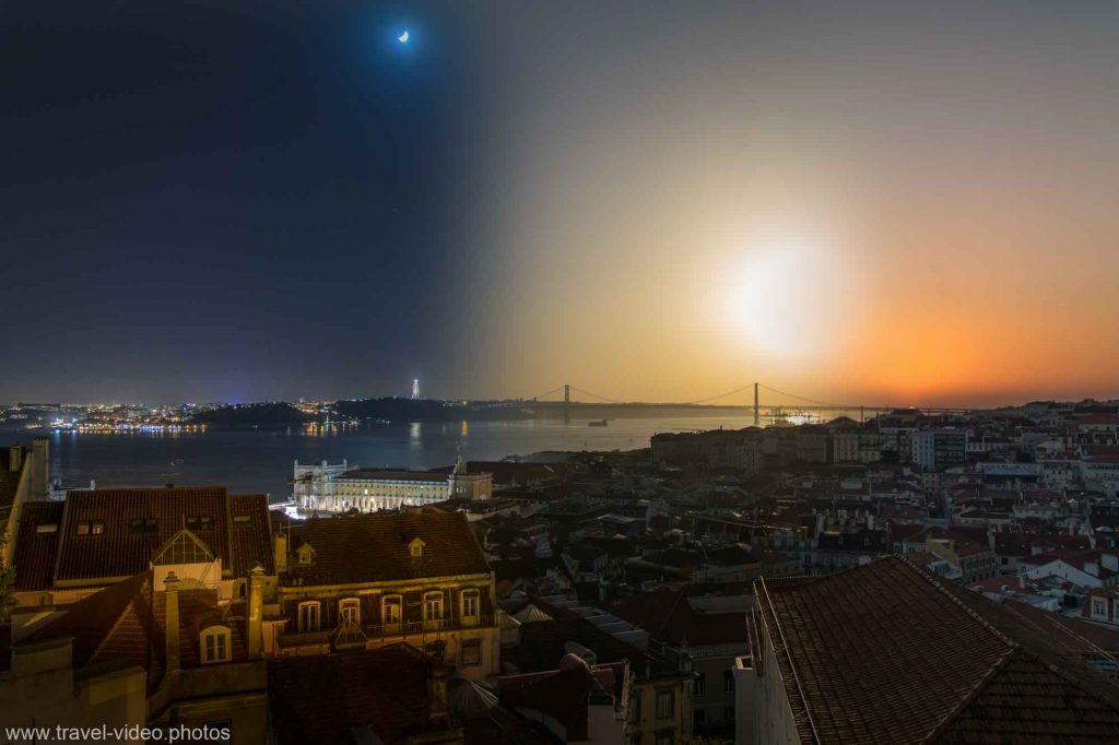 day to night timelapse lisbon portugal 25th april bridge sunset moon