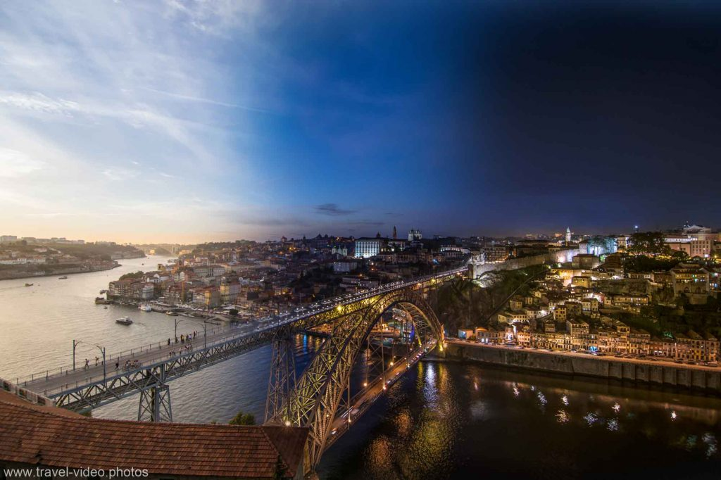 day to night timelapse porto dom luis bridge ponte portugal sunset
