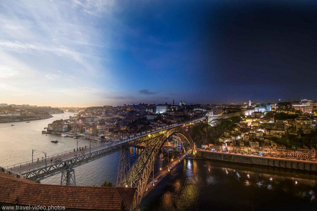 day to night timelapse porto dom luis bridge ponte portugal sunset