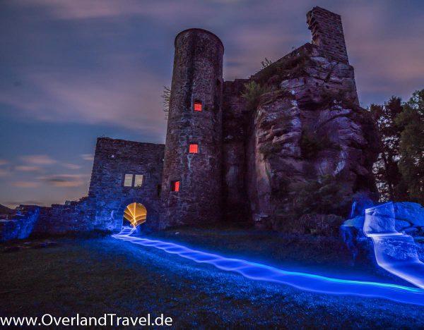 burgruine neudahn rheinland pfalz burg castle ruin light painting sony alpha a7r3 16 35 2 8 2