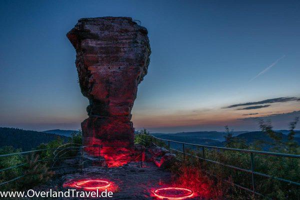 light painting burg drachenfels dahn felsenland